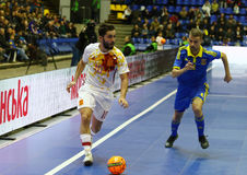 Futsal amistoso: Ucrania v España en Kiev, Ucrania Foto de archivo