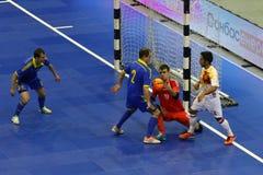 Futsal amistoso: Ucrania v España en Kiev, Ucrania Imagen de archivo