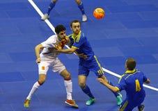 Futsal amistoso: Ucrania v España en Kiev, Ucrania Fotos de archivo libres de regalías