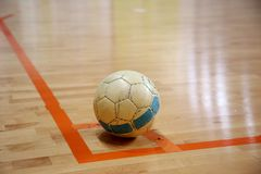 The futsal ball on the corner Stock Images