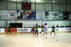 Futsal kick. An action of the professional futsal italian match feldi eboli vs acqua & sapone Royalty Free Stock Photo