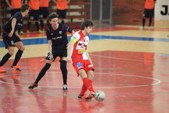 Futsal - Petr Oliva and Michal Mares. Petr Oliva and Michal Mares in the czech futsal league match between Slavia Prague and ERA PACK Chrudim played in Prague on Royalty Free Stock Images