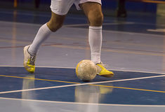Futsal player in the sports hall Stock Images