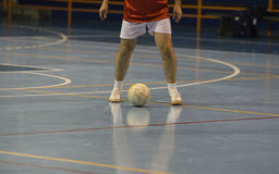 Futsal player in the sports hall Royalty Free Stock Image