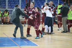 Futsal winners. The salernitana futsal women is celebrating the victory of the italian cup.16/2/14 Stock Images