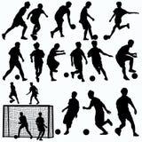 Futsals-Spieler-Schattenbildvektor Stockfotos