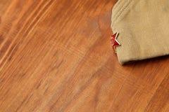 Futterkappe des Soldaten mit einem roten Stern 9. Mai Victory Day Stockbild