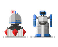 Futur caractère robotique d'icône d'élément de conception futuriste de jouet et de cyborg de la science de vintage de robot de ma illustration de vecteur