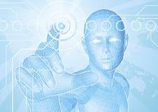 Futur concept d'écran tactile d'homme Images stock