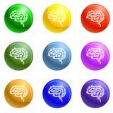 Futur vecteur d'ensemble d'icônes de cerveau illustration libre de droits