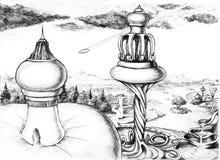 Futurama. Futuristic city sight, skecth illustration Stock Photography