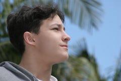 Future. Teenage boy looking forward Stock Photo