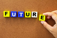 Future. Hand holding the word future isolated on wood board Stock Photo