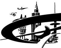 Future. Town in the future black and white silhouette Royalty Free Stock Photography
