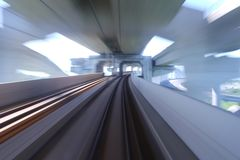 Into the future. These rails take us to the future Stock Images