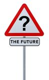 The Future. Road sign implying uncertainty of the future (isolated on white Royalty Free Stock Photos