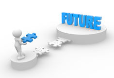 Future. 3d people - man, person with pieces of puzzle and word Future Royalty Free Stock Photo