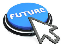 Future. Button in blue with arrow trying to click it on white background, concept of building  in technology and computing field Stock Images