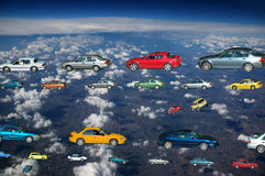 The Future. Flying cars in the sky Stock Photos