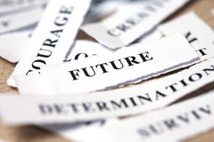 Future. Label with future on table Royalty Free Stock Photo