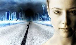 Future. Closeup of a girl face with a citystreet backround Royalty Free Stock Photo