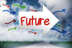 Future against road leading out to the horizon Stock Photos