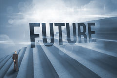Future against steps against blue sky Stock Image