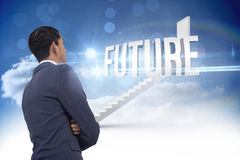 Future against steps leading to closed door in the sky Stock Image
