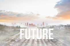 Future against stony path leading to misty city horizon Stock Photo