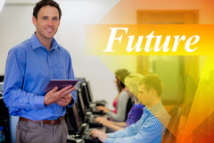 Future against teacher with students using computers in computer room Stock Photography