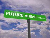 Future ahead sign. Green future ahead sign against a cloudy sky background royalty free stock photo