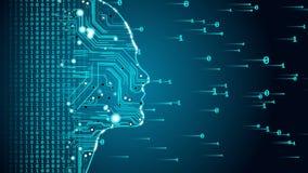 Future AI tech machine learning, human fast digital computing, robot revolution