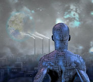 Future. Android before smog filled city with terraformed moon in sky Stock Images