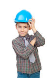 Future architect in hard hat Royalty Free Stock Photos