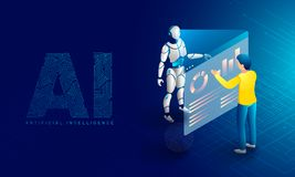 Future of Artificial Intelligence (AI), robotic data monitoring. Or analysis concept based isometric design. Responsive web banner stock illustration