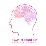 Future artificial intelligence technology. Mechanical brain creative idea vector concept. Artificial brain techology science illustration royalty free illustration
