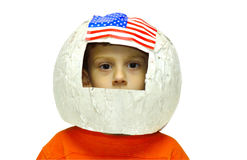 Future Astronaut. Child Wearing A Homemade Paper Astronaut Helmet Stock Photo