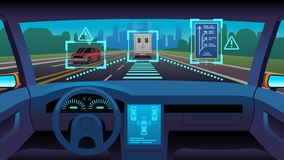 Future autonomous vehicle. Driverless car interior futuristic autonomous autopilot sensor system gps road, cartoon vector illustration