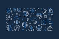 Future bannière de vecteur dans le style linéaire Illustration horizontale d'AI illustration libre de droits
