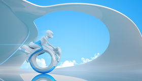 Future bike 5. Biker riding futuristic mono wheel bike. Future collection - huge series Stock Photo