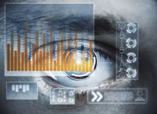 Future and biometrics concept. Abstract digital eye with business hologram. Future and biometrics concept. Double exposure Royalty Free Stock Image