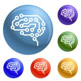 Future brain icons set vector vector illustration
