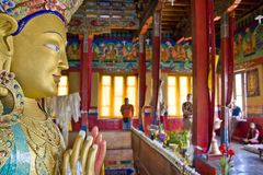 Future Buddha. Statue of Maitreya (Future Buddha) at Thiksey Monastery Royalty Free Stock Image