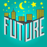 Future. Building top of future text Stock Image