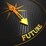 Future. Business Background. Future - Business Background. Golden Compass Needle on a Black Field Pointing to the Word Future. 3D Render Royalty Free Stock Photo