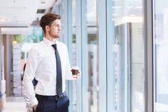 Future in business career and ambitions, portrait of young business man stock image