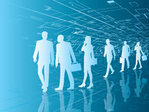 Future business people. Walking through futuristic corridor  illustration Royalty Free Stock Photo