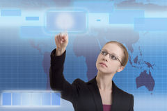 Future business solutions business woman. Blue operating interface Royalty Free Stock Photo