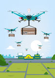 Future Cargo concept. A group of Delivery Drone carries cargo. From the company base, Remote Controlled Drones flies high with packages to deliver to clients vector illustration