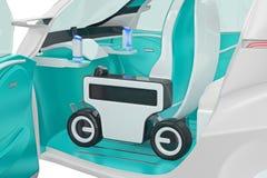 Future carlingue de voiture, vue étroite illustration stock